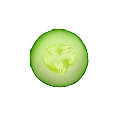 Cucumber vector isolated slice fresh icon illustration food green vegetable organic natural realistic circle nature