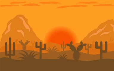 Arizona Desert Sunset or Sunrise Landscape Flat Design