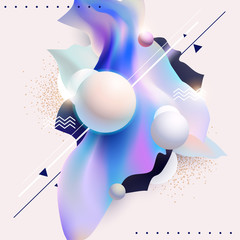 Fluid poster design. Abstract color template.