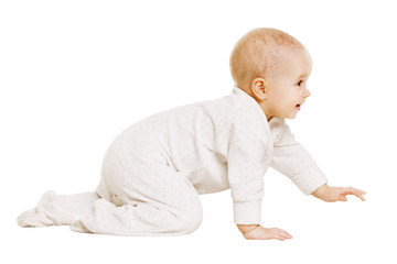 Baby Crawling, Happy Infant Child Crawl Isolated White Background, Girl one year old