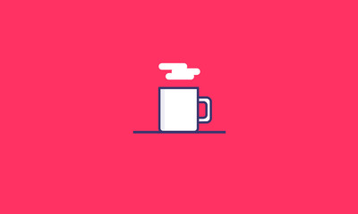 Mug (Line Art in Flat Style Vector Illustration Icon Design)