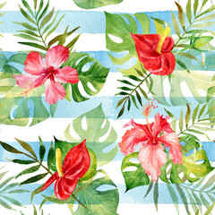 Seamless pattern with watercolor tropical flowers and leaves on striped background. Can be used for gift wrapping, background of web pages, as a print for any printing products.