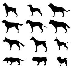 Dog silhouette vector icon pet set isolated animal black collection illustration