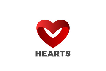 Hearts Logo Love dating design vector. St Valentines Day concept