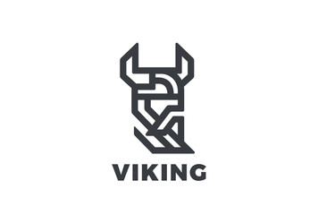 Viking Odin Head Helmet Beard Logo vector Linear Warrior vintage