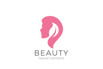 Woman silhouette Leaf Logo vector. Beauty SPA salon Cosmetics