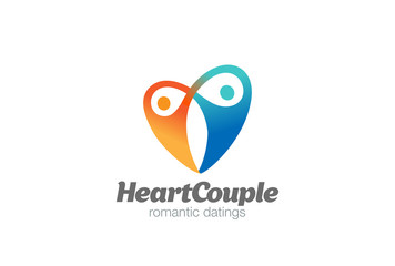 Love Heart Couple Hug Logo vector. Dating Valentines day icon