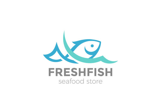 Fish in water Logo vector Seafood restaurant store Logotype icon