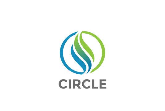 Wave Circle abstract Logo vector. Luxury wavy Logotype icon