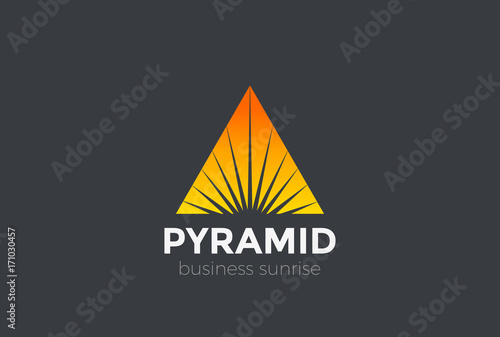 sunrise sunset star triangle pyramid logo abstract vector icon