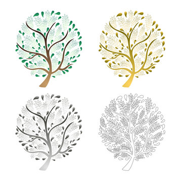 Tree Set isolated on White Background. Vector Illustration.
