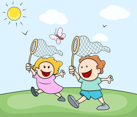 Cute Cartoon Kids Playing and Catching Butterfly