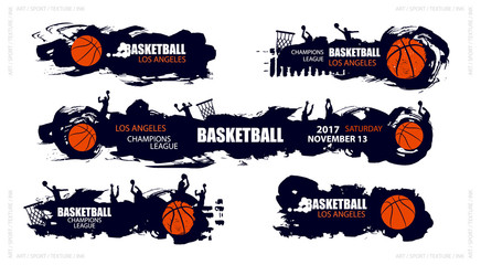 Design for basketball. Set posters for the tournament. Abstract background. Streetball. Hand drawing. Style grunge, horror, brush elements. EPS file is layered.