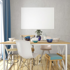 Mock up poster in interior with dining area. living room modern style. 3d illustration