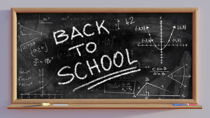 3D render of a blackboard Back to school writing and mathematical scribbles