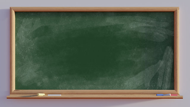 3D render of a blackboard with chalk wipes