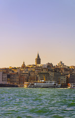 Istanbul cityscape in Turkey with Galata Tower.