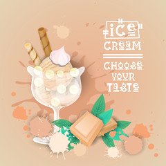 Ice Cream Logo Sweet Beautiful Summer Dessert Delicious Food Banner Flat Vector Illustration