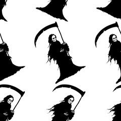 Seamless halloween background. The figure of death in a black shroud and scythe in hand. Design for Happy Halloween wrapping paper or wallpaper. Cartoon style. Doodles. Vector illustration.