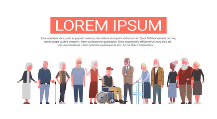 Group Of Senior People Over White Background Modern Grandfather And Grandmother Full Length Flat Vector Illustration
