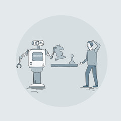Modern Robot Playing Chess With Man Icon, Futuristic Artificial Intelligence Mechanism Technology Vector Illustration