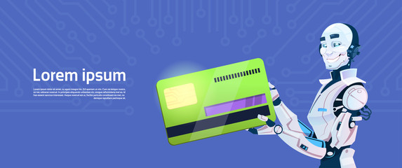 Modern Robot Hold Credit Card Mobile Payment, Futuristic Artificial Intelligence Mechanism Technology Flat Vector Illustration