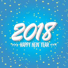 2018 Happy new year creative design blue greeting card