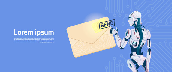 Wall Mural - Modern Robot Hold Envelope Sending Email Message, Futuristic Artificial Intelligence Mechanism Technology Flat Vector Illustration