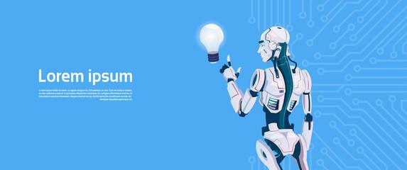 Wall Mural - Modern Robot Hold Light Bulb, Futuristic Artificial Intelligence Mechanism Technology Flat Vector Illustration