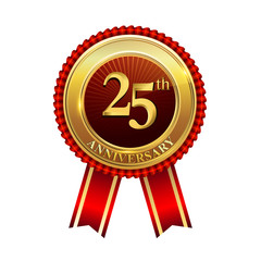 25 years anniversary golden badge with red ribbons isolated on white background, vector design for greeting card, banner and invitation card.