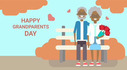 Happy Grandparents Day Greeting Card Holiday Banner African American Grandfather And Grandmother Couple Sitting On Bench Together Vector Illustration