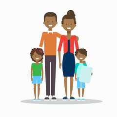 African American Family Happy Smiling Parents With Two Kids Embracing Isolated Vector Illustration