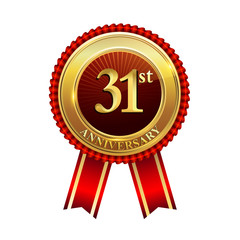 31st years anniversary golden badge with red ribbons isolated on white background, vector design for greeting card, banner and invitation card.