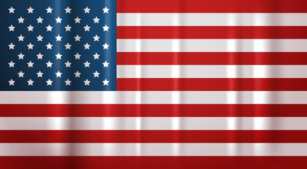 USA Flag National Symbol United States Of America Banner Flat Vector Illustration