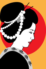 a geisha with pearl beads in a hairstyle and a kimono on an orange background with a red sun