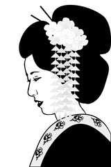 black and white geisha with floral decoration in hairstyle and dark kimono on white background