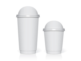 Plastic cup for your design and logo. It's easy to change colors. Mock Up. Vector template