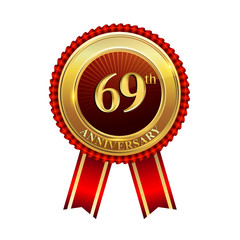 69 years anniversary golden badge with red ribbons isolated on white background, vector design for greeting card, banner and invitation card.