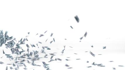 flying dollar banknotes. 3d illustration.