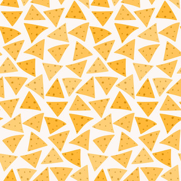 Tasty colorful crispy mexican nachos seamless pattern. Nice spanish fastfood texture for textile, wallpaper, background, cover, banner, bar and cafe menu design
