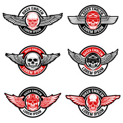 Set of biker club emblems templates. Skull with wings.