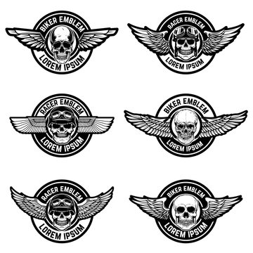 Set of biker club emblems templates. Emblems with skulls and wings.