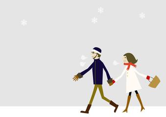 冬着のカップル 雪のイメージ