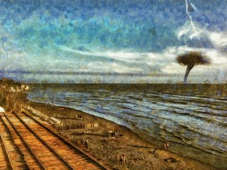 Tornado in the ocean. Deserted beach.The oncoming storm. Hurricane. Oil painting. Painted in watercolor. Hand draw from real picture.