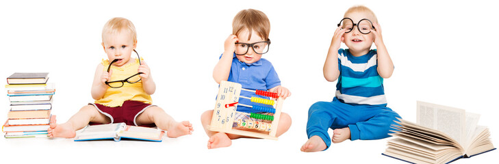Baby Reading Book, Kids Early Education, Smart Children group in Glasses, white isolated
