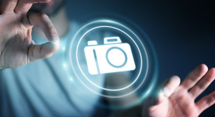Businessman using modern camera application 3D rendering