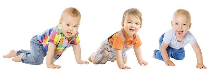 Baby Boys Group, Crawling Infant Kid, Toddler Child Crawl over White