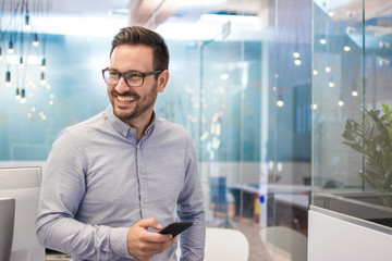 Portrait of cheerful businessman with mobile phone standing in modern office.