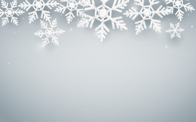 Merry Christmas and Happy new year. Abstract snowflakes on white background