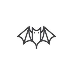 Bat line icon, outline vector sign, linear style pictogram isolated on white. Halloween holiday Symbol, logo illustration. Editable stroke